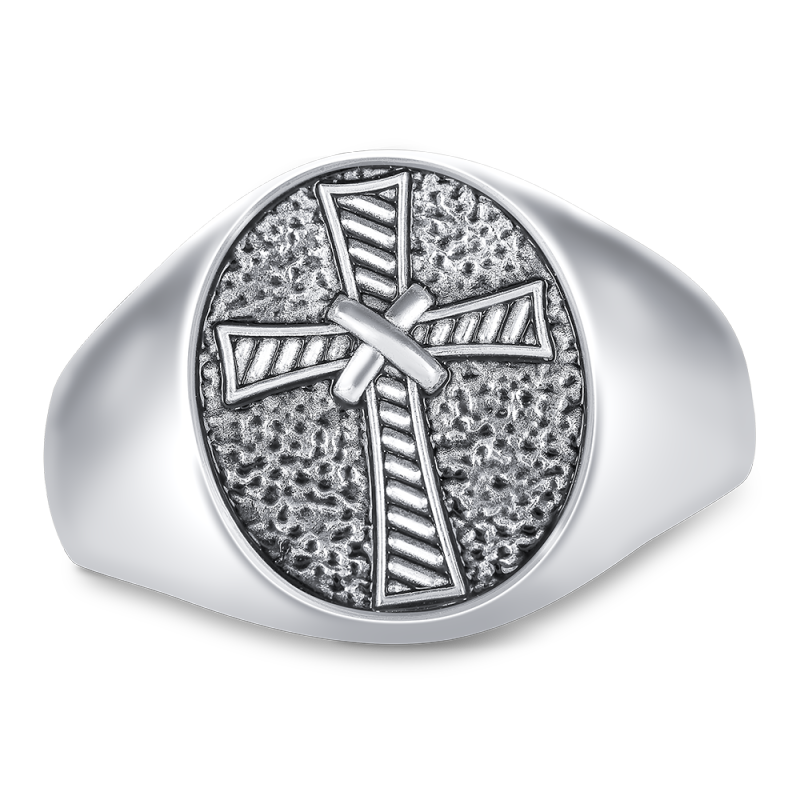 Ladies' Textured Religious Motif Engravable Oval Signet Ring by ArtCarved®  (2 Lines and 1 Symbol) Zales