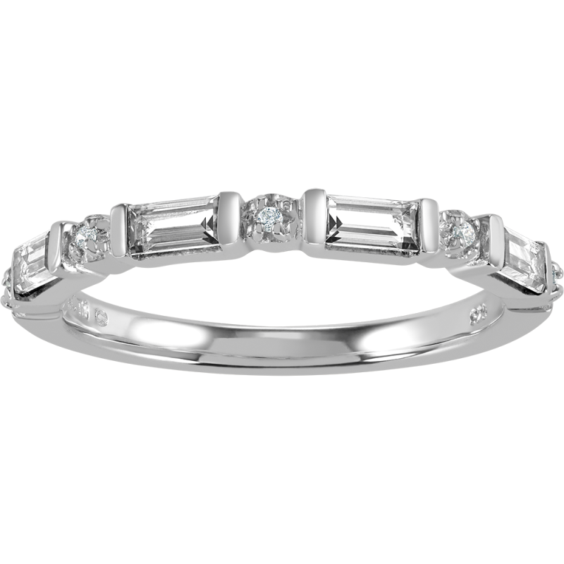 f0b95dfee09c1 Baguette Birthstone and Cubic Zirconia Stackable Ring by ArtCarved® (1  Stone)|Zales